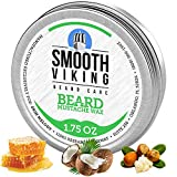 Smooth Viking Mustache Wax - Men's Moustache Wax Strong Hold for Styling and Sculpting - Moisturizing Beard Wax for Facial Hair - Elite Mustache Care Product with Natural Manly Scent - 1.75 Ounces