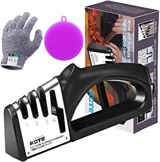 IKOTE Kitchen Knife Sharpener, 4-in-1 Knife and Scissors Sharpener with Diamond, Ceramic, Tungsten, Kitchen Tools for Kinds of Knives- Cut-Resistant Glove and Silicone Scrubber Included