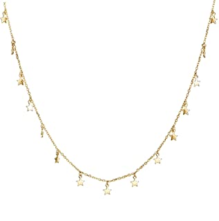 Star Necklace Simple 14K Gold Plated Dainty Pendant Gold Star Choker Necklaces for Women
