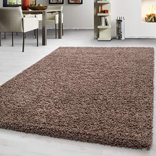 Teppich hochflor Shaggy Teppich modern einfarbig langflor Wohnzimmer teppiche, Maße:240 cm x 340 cm, Farbe:Kaffee