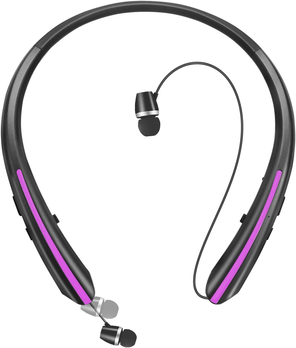 Bluetooth Headphones, Retractable Wireless Neckband Earbuds Earphone Stereo Headsets with Microphone(20 Hours of Music)
