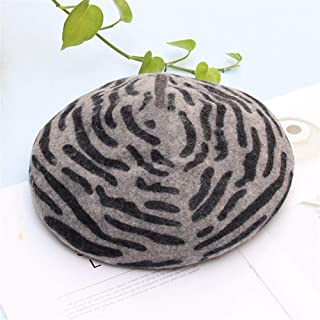 SHENTIANWEI England Striped Beret Female Horse Pattern New Winter Bud Korean Wild Temperament Ladies hat Tide (Color : Grey, Size : Adjustable)