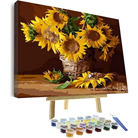 Red Sunflower Paint by Numbers Kit DIY Canvas Oil Painting Unframed Home Decor