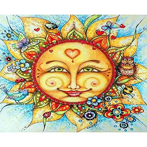 Ifoto Diy 5D Diamante Pintura Por Número Kit Rhinestone Bordado De Punto De Cruz Artes Manualidades Lienzo Pared Decoración(30X40Cm)-Smiley De Flor De Sol