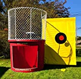 Dunk Tank - Red Portable Dunking Booth - Easy Dunker 2 with Window - Commercial Grade Water Game - Trailer-Mounted for Easy Transportation (Wingless Design)