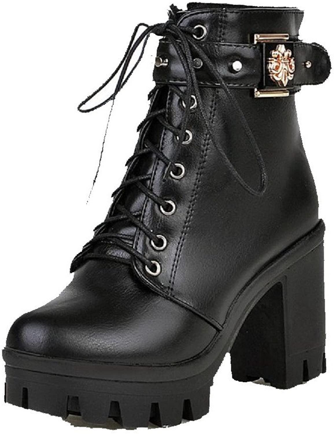 AllhqFashion Women's Round Closed Toe Low-Top High-Heels Solid PU Boots with Rivet
