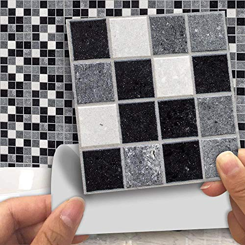 Gestript tegel sticker for keuken, badkamer met glanzend oppervlak (18 stuks), F, Kleur: H (Color : C)