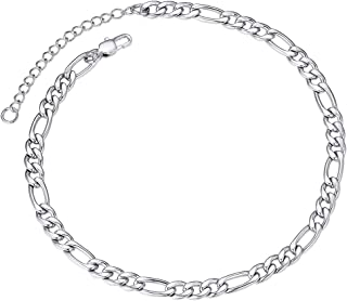 "Sturdy Ankle Bracelet 5mm 8.5"" with Extension Chain Stainless Steel Foot Chain Silver Color"