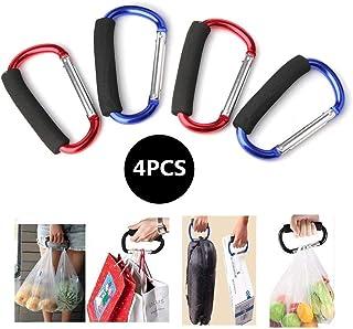 sansheng 4PCS Carabiner Hook Aluminum D-Style Carry Handle Shopping Bags Handbag Tote Stroller Carrying,Buggy Carabiner St...