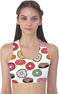 Womens Colorful Donuts Pattern Sport Bra