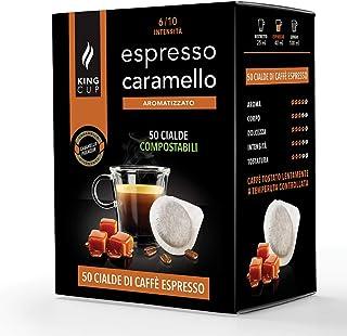 King Cup - 50 Dosettes de Café Aromatisé au Caramel, Dosettes Compatibles avec la Machine à Café E.S.E. dm 44mm, Café au C...