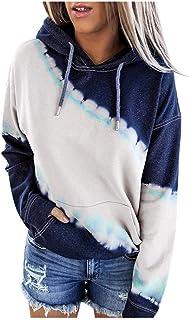 haoricu Womens Tie Dye Printed Hoodies Drawstring Loose Fit Crop Tops Pullover Sweatshirt with Pockets Dark Blue