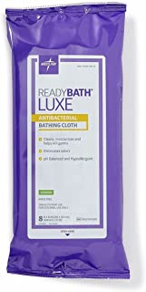 MEDLINE ReadyBath Luxe Total Body Cleansing Heavyweight Washcloths, 8 Count