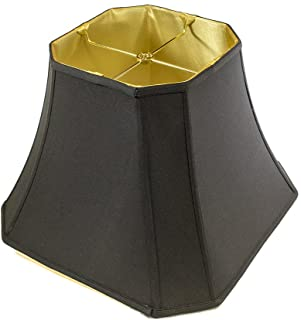 9x16x12 Square Cut Corner Lampshade Black Fabric/Gold Liner with Brass Spider fitter By Home Concept - Perfect for table and floor lamps - Large, Black