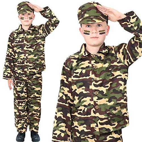 I LOVE FANCY DRESS LTD Traje DE Disfraces del EJÉRCITO para NIÑOS Disfraz DE Soldado Uniforme Militar para NIÑOS 3 Piezas (Mediano)