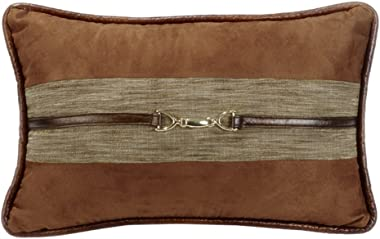 """HiEnd Accents Highland Lodge Suede Buckle Pillow, 12x19, 12"""" x 19"""", Brown"""
