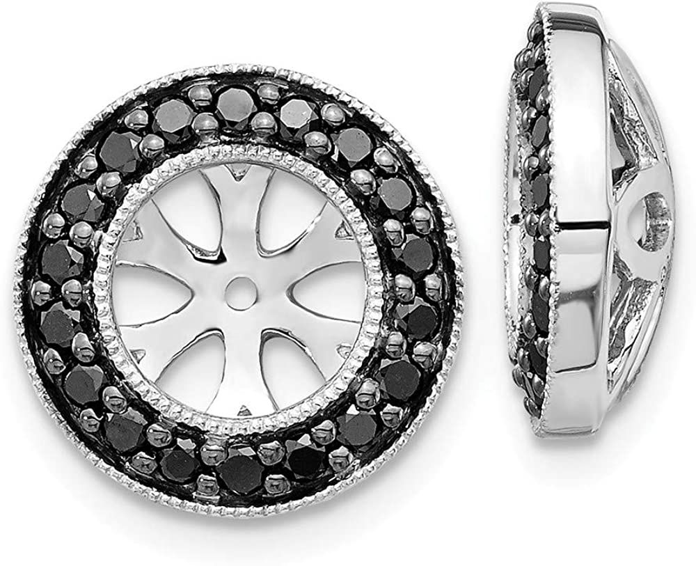 Affluent Rock 14k White Gold Black Diamond Earrings Jackets (0.47