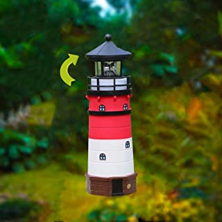 W-DIAN Solar Lighthouse Decor Garden Lights Outdoor Lawn with Rotating Lamp Decorative Lights for Path Yard Lawn Patio