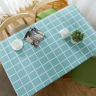 YCTZ Nappe en toile cirée carrée rectangulaire en PVC résistant à la chaleur et aux taches d'huile - Turquoise - 180 x 130 cm