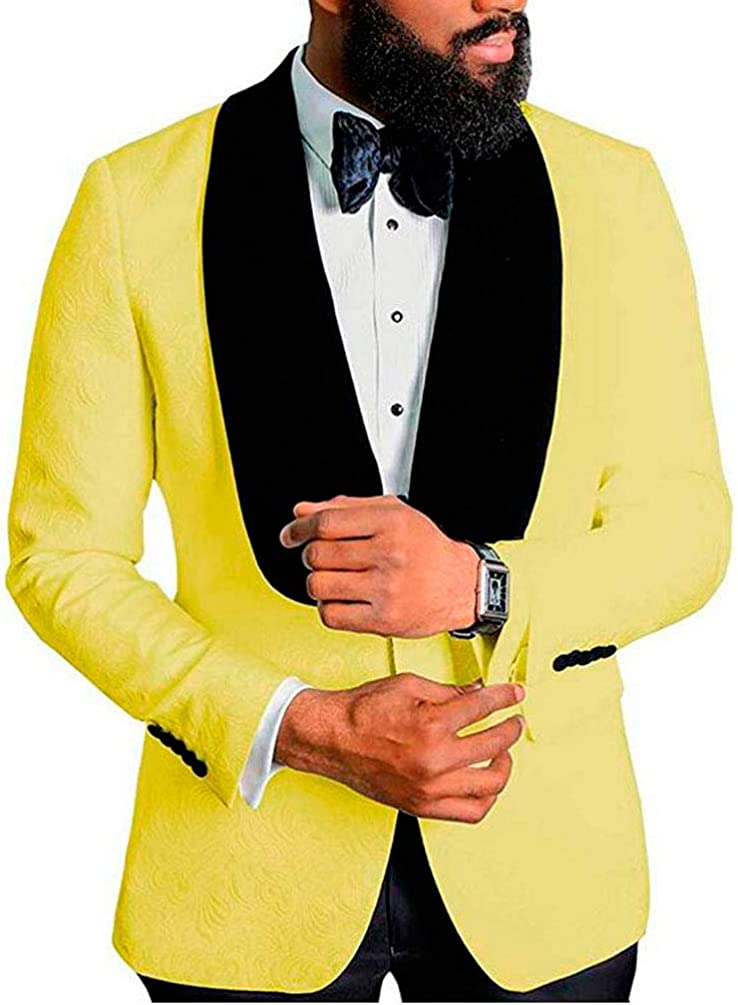 Men's Shawl Lapel Yellow Floral Blazer One Button Regular Fit Prom Party Jacket Dinner Coat Yellow 48/42