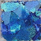 FidgetFidget Multi-Color Ice Cracked Glass Mosaic Tiles DIY Crafts Broken Glass 150g/0.33lb Blue Mix Color