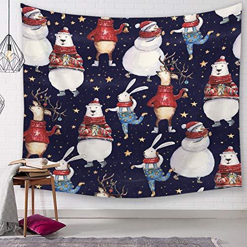 Tapestry wandtapijt, wandtapijt, haas en sneeuwman, Boheemse Psychedelische planten en dieren bedrukken, groot formaat, vintage, modieus, decoratief hangend doek voor de woonkamer 150 × 130 cm