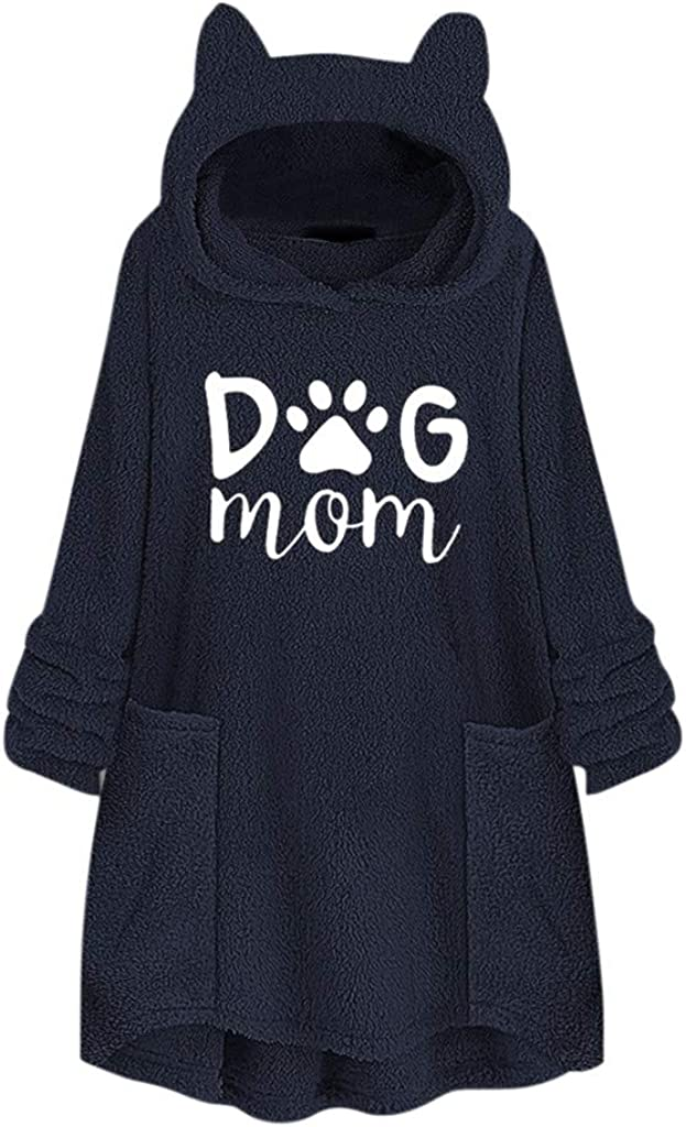 FIRERO Women Fleece Winter Warm Embroidery Cat Ear Hoodie Pocket Plus Size Tops Sweater Blouse