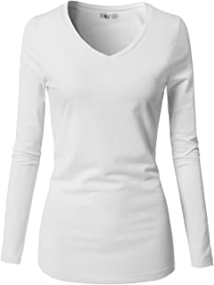 Womens Casual Slim Fit T-Shirts Long Sleeve V Neck/Crew Neck Cotton Top