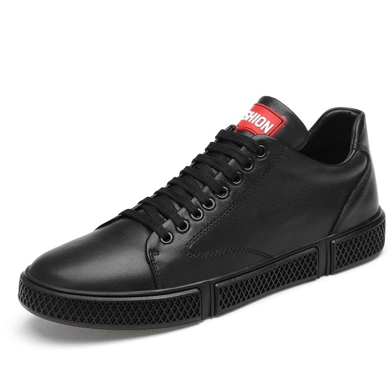 男士革靴 男性用スニーカーアスレチックスポーツフラットシューズレースアップ本革アウトドアランニング 個性な (Color : ブラック, サイズ : 25 CM)