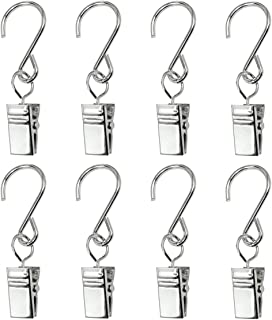 GuangTouL Party Light Hangers Hook Rings, 30 Pack Outdoor Lighting Hooks Clips, Stainless Steel Curtain Clip/Metal Wire Holder Rope String Lights, Outdoor Activities Party Supplies