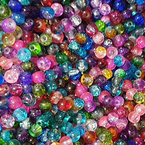 k2-accessories  200 Pcs 4mm Crackle Glass Beads Multicoloured Round Beads Coloured Beads loose beads Spacer Beads for Jewelry Making Decoration Necklace Earrings