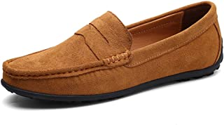 VILOCY Mens Casual Suede Slip On Driving Moccasins Penny Loafers Flat Boat Shoes