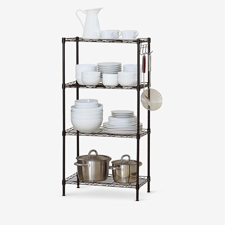 LQQGXL.Storage and Organization Family Economy Multi-Function Four-Storey Metal Storage Rack Kitchen Racks Simple Modern Bathroom Storage Rack Silver Black 30x55x108cm (color   Black)