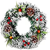 Vacclo Christmas Large Wreath Front Door Wreath Outdoor Wall Hanging Ornaments Red Bowknot Jingle Bells Garland Christmas Decoration Gifts for Christmas Party Easter Thanksgiving Day Decor (30CM)