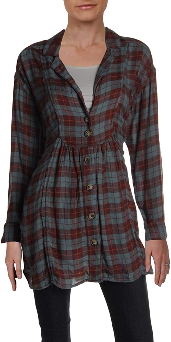 Free People Womens All About The Feels Plaid Long Sleeves Blouse