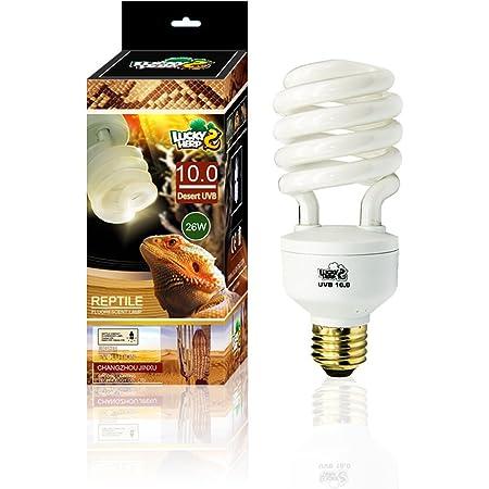 LUCKY HERP Desert UVA UVB Reptile Light Bulb 10.0 Compact Fluorescent Lamp 26W