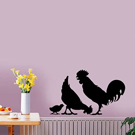 Amazon Com Chicken Rooster Chicks Farm Animal Removable Wall Sticker Art Home Office Room Mural Decor Vehicle Car Truck Window Bumper Graphic Decal 6 Inch 15 Cm Wide Matte Black Color Home