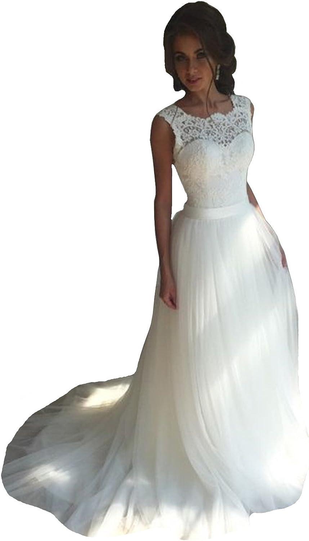 Danadress Women's New Tulle Lace Wedding Dresses ALine Long Bride Gowns 35