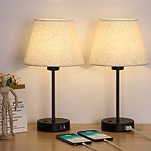 Juego de 2 lámparas de mesita de noche, con puertos de carga USB duales, luz moderna para dormitorio, sala de estar, sala ...