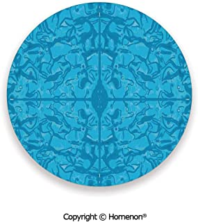 Water like Unusual Pattern with Bunch of Contour Shaped Trippy Forms Graphic,Absorbent Coaster For Drinks Indigo Blue,3.9×0.2inches(8PCS),Great Gift For Unisex Adults Teens