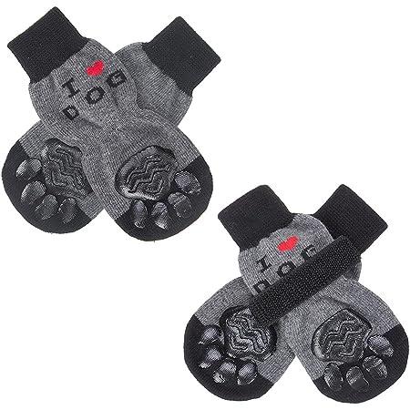 SCENEREAL Dog Socks Anti Slip, I Love Dog Pattern, Comfortable Dog Paw Protectors with Adjustable Straps Traction Control for Hardwood Floor