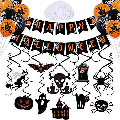 Halloween Party Decoration Kit – Halloween Hanging Swirl, Happy Halloween Banner, 20 Pieces Halloween Balloons and 20 gram Spiderweb Cobweb for Halloween Party Indoor Outdoor Decorations