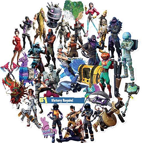 Juego de pegatinas Fort_nite para juegos (40 unidades), juego de pegatinas populares para niños, adultos, adolescentes, niños y niñas, pegatinas impermeables para botellas