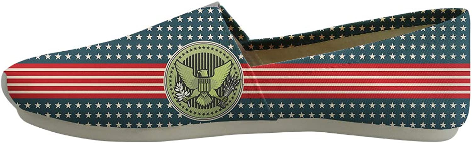 Owaheson Classic Canvas Slip-On Lightweight Driving shoes Soft Penny Loafers Men Women Stars and Stripes Bald Eagle Seal