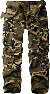 Must Way Men's Cotton Casual Military Army Camo Combat Work Cargo Pants with 8 Pocket
