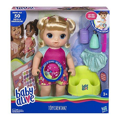 Baby Alive E0609GC0 Töpfchentanz (Blondhaarig), Funktionspuppe-kann sprechen, tanzen und auf das Töpfchen gehen, Mehrfarbig