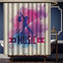 HouseLook Teen Room Water Resistant Bathroom Curtain Rock Star with Guitar Inside Watercolor Cloud with Musical Quote Print Shower Curtain for Kids Decoration W66 x L72 Inch Cream Pink Purple