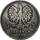 Chaenyu 1930 5 Monedas de Zlotych Polonia Copiar colección de Monedas conmemorativas