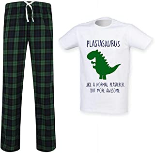 Mens Plasterer Dinosaur Tartan Trouser Pyjama Set Family Matching Twinning Family