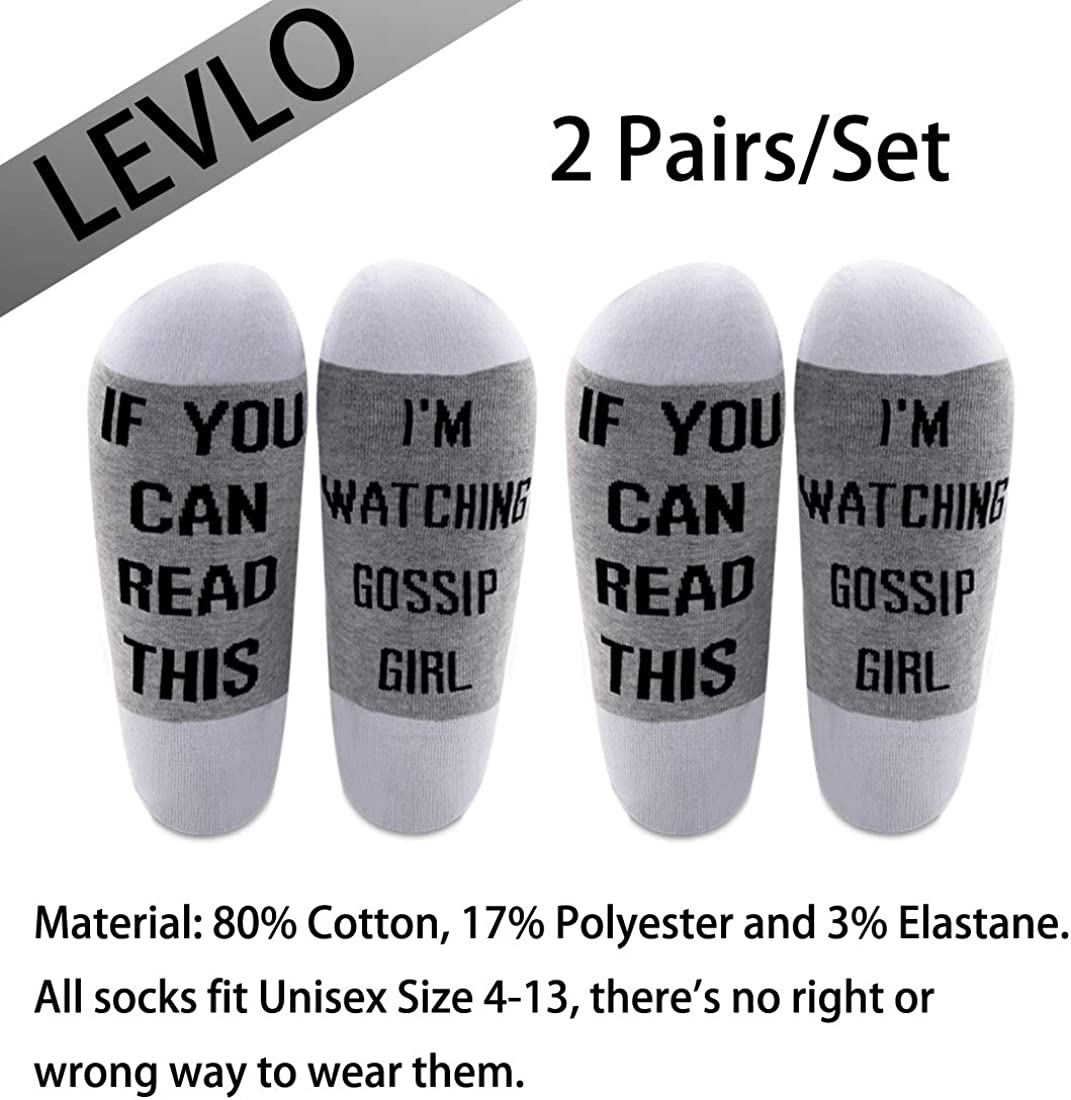 LEVLO Gossip Girl Inspired Gift If You Can Read This Im Watching Gossip Girl Cotton Socks Gossip Girl Fans Gift